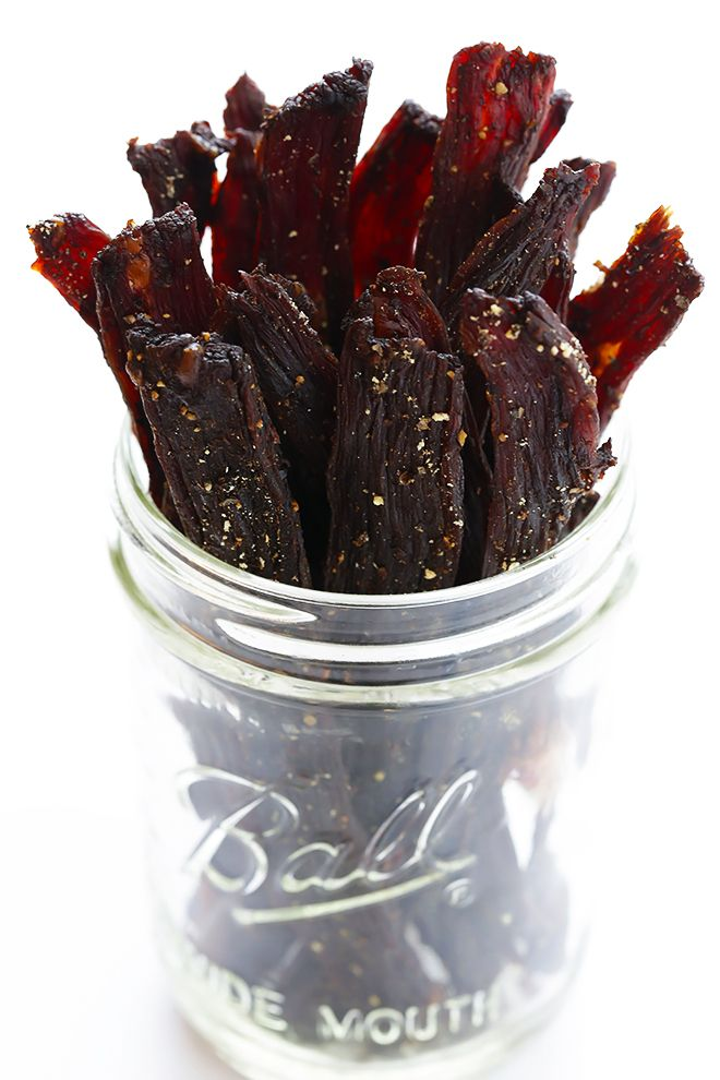 Seriously The BEST Beef Jerky Recipe -- easy to make at home, nice and savory and peppery, and SO delicious!   gimmesomeoven.com