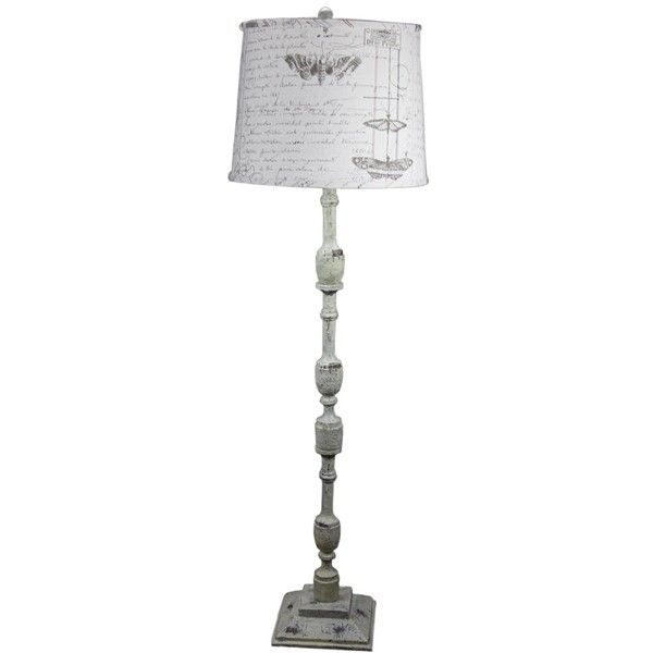 Harlan Distressed Ivory Floor Lamp with Antique Ledger ($285) ❤ liked on Polyvore featuring home, lighting, floor lamps, grey, gray lamps, cream floor lamp, cream lamp, ivory lamp and universal lighting and decor