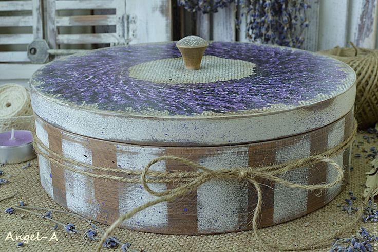 Купить Большая деревянная шкатулка Лавандовый венок - шкатулка декупаж, шкатулка деревянная, шкатулка