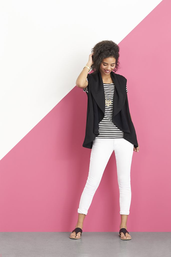 Wear black-and-white stripes for a stylish take on a traditionally nautical pattern. To keep this outfit looking more downtown and less Cape Cod, add a loose black vest over top, keep the look light with white denim and minimal leather sandals. Schedule a Fix to receive personalized style tips for your lifestyle.