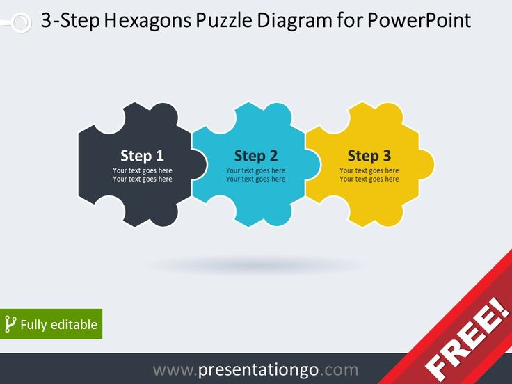 free diagram for powerpoint with 3 hexagonal puzzle pieces powerpoint diagrams pinterest. Black Bedroom Furniture Sets. Home Design Ideas