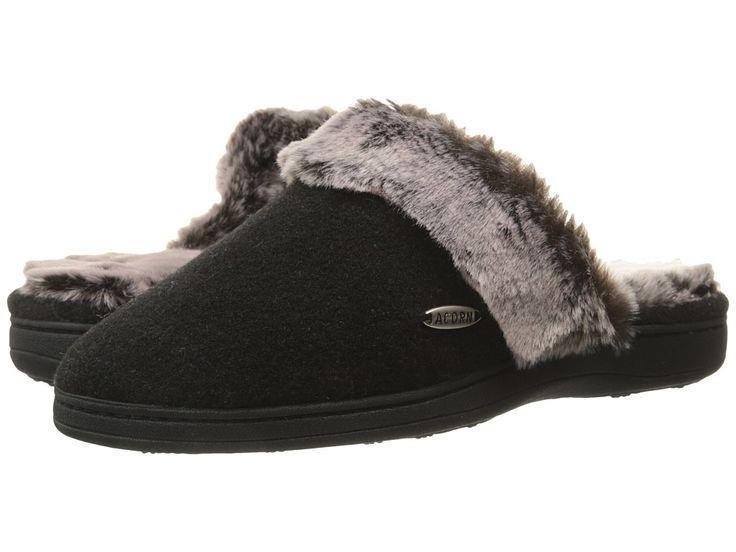 ACORN ACORN - CHINCHILLA SCUFF (BLACK) WOMEN'S SLIPPERS. #acorn #shoes #