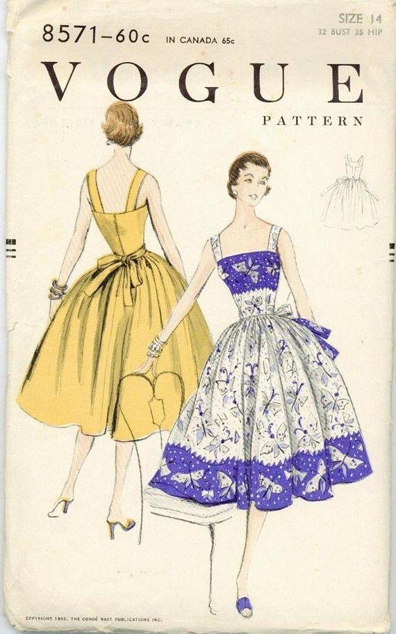 1955 Sewing Pattern Vintage Vogue 8571 Size 14 Full Skirted Rockabilly Halter…