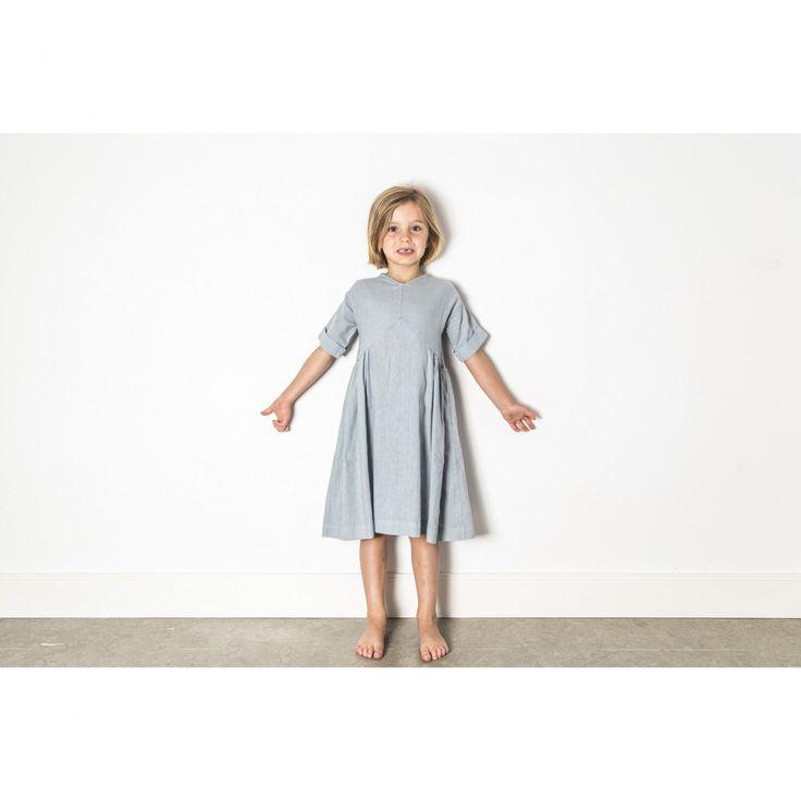 V Dress Blue Denim Yellow Pelota Dress for little girls