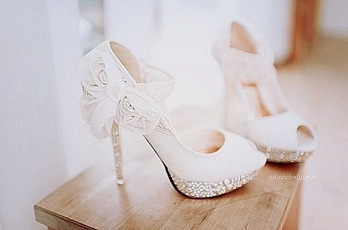 wedding heels please :) sparkles and lace.