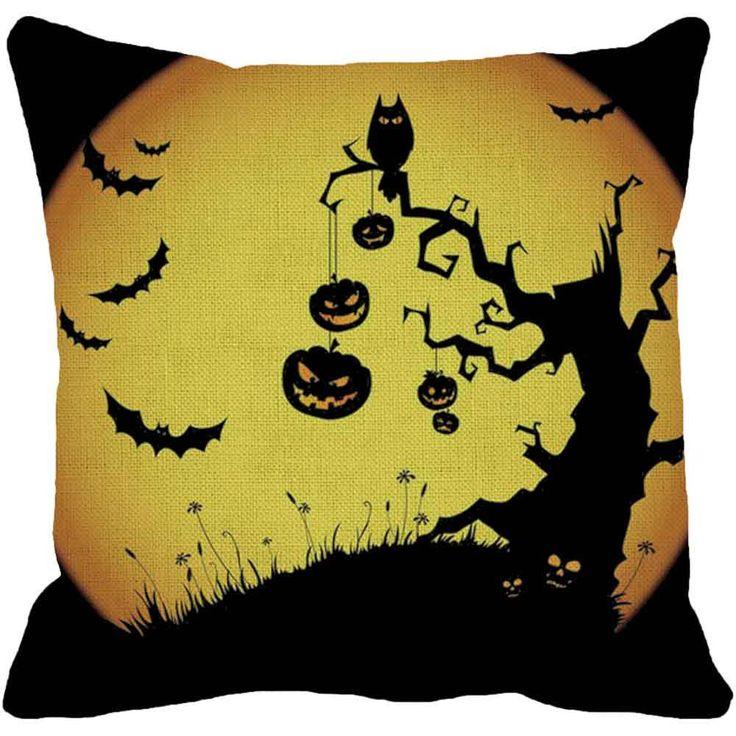 Festival Halloween Pumpkin Square Pillow Cover Cushion Case Pillowcase Zipper Closure