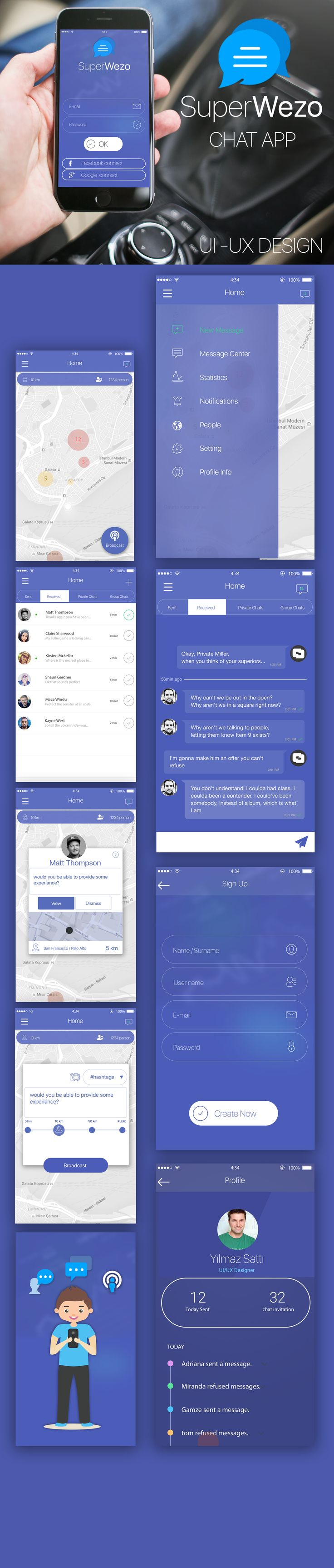 "@Behance projeme göz atın: ""SuperWezeo Chat App UI UX"" https://www.behance.net/gallery/45689155/SuperWezeo-Chat-App-UI-UX"