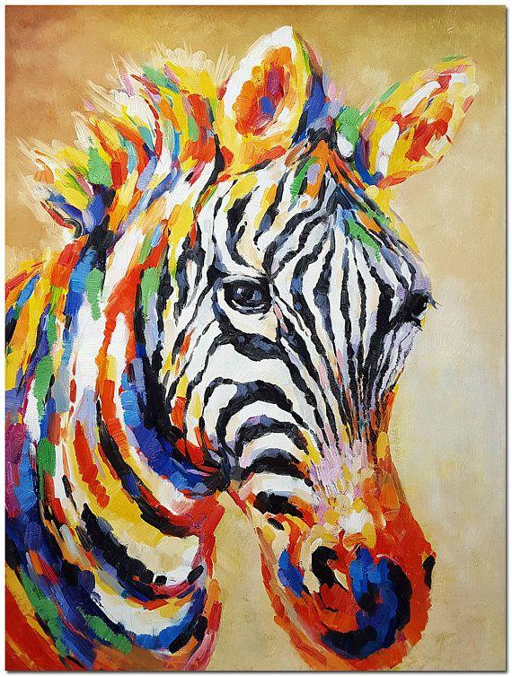 Handgeschilderde impressionistische Zebra schilderij op Canvas - multi-gekleurde dierlijke kunst
