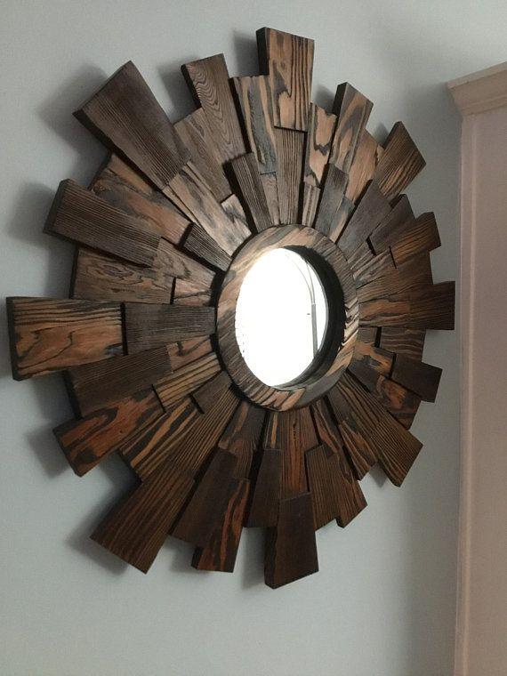 Wood Wall Art Dimensional Sunburst Reclaimed Wood Wall Art Reclaimed Sunburst Mirror Rustic Mirror Wall Mirror Walnut Mirror Reclaimed Wood Wall Art Wood Wall Art Wood Wall
