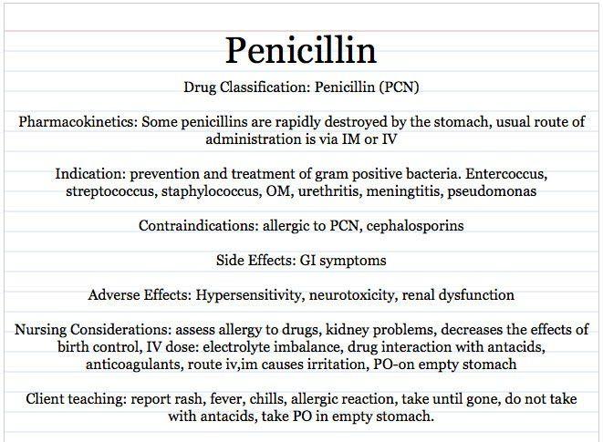 Vocational Nursing Resources: Penicillin drug card sample