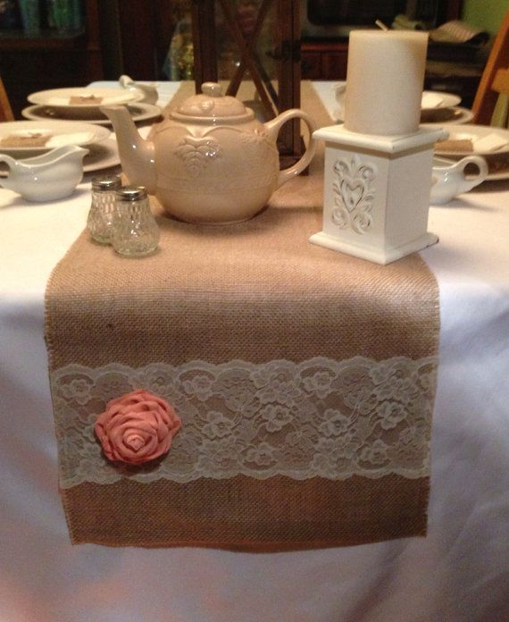 "Burlap Table Runner  14"" x 96"""