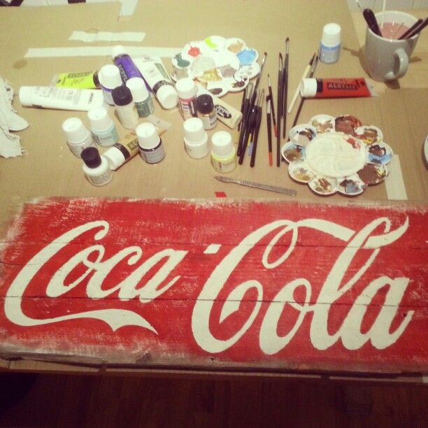 Diy coca cola red white paint