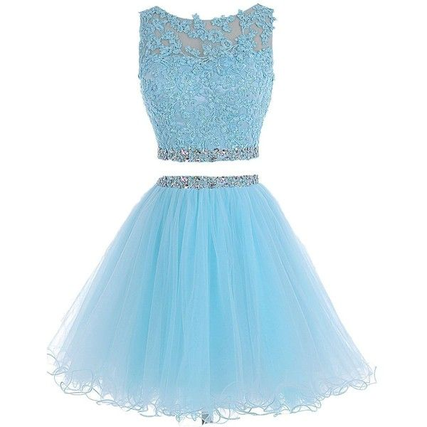 e17be2f0c5 HTYS Beaded Two Pieces Prom Dresses Applique Short Homecoming Dresses...  (170 BRL) ❤ liked on Polyvore featuring dresses