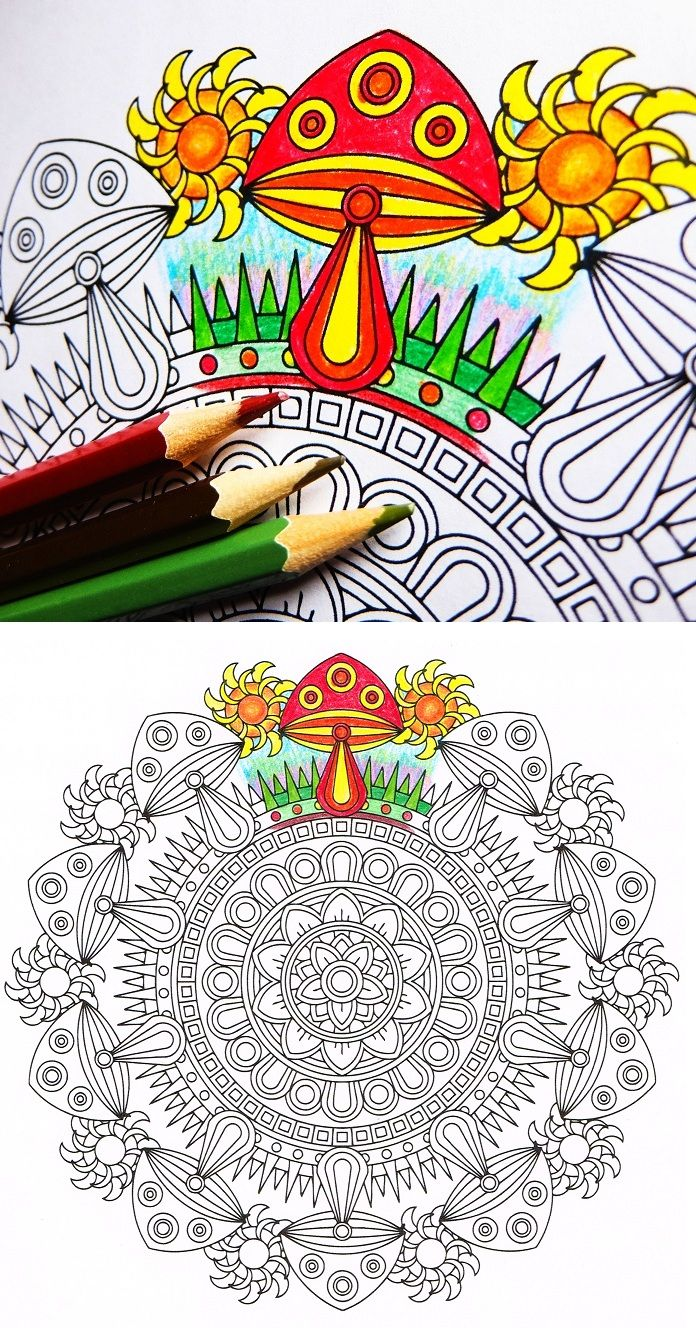 Midday Mushrooms Printable Mushroom Mandala By Candy Hippie Mandala Coloring Books Coloring Books Printable Christmas Coloring Pages