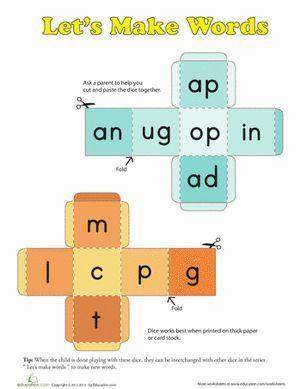 First Grade Phonics Games Worksheets: Roll a Word #Freebie #PhonicsWork