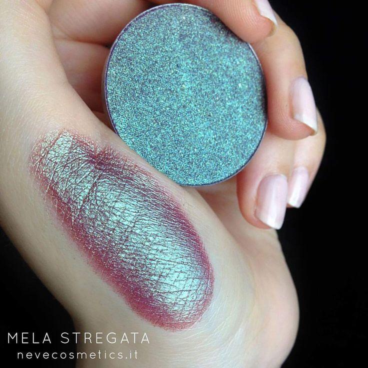 "Neve Cosmetics (@nevecosmetics) on Instagram: "" MELA STREGATA eyeshadow  A compact duochrome shade in fuchsia purple with aqua green shimmers✨…"""
