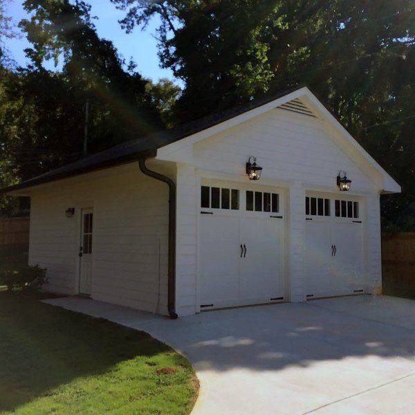 Detached Garage Two Car White Painted Ideas Garage Door Design Detached Garage Designs Garage Plans Detached