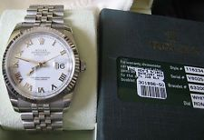 "Rolex 116234 SS/WG DATEJUST 36MM White Roman Dial 'V"" series 3135 Cal. Movement"