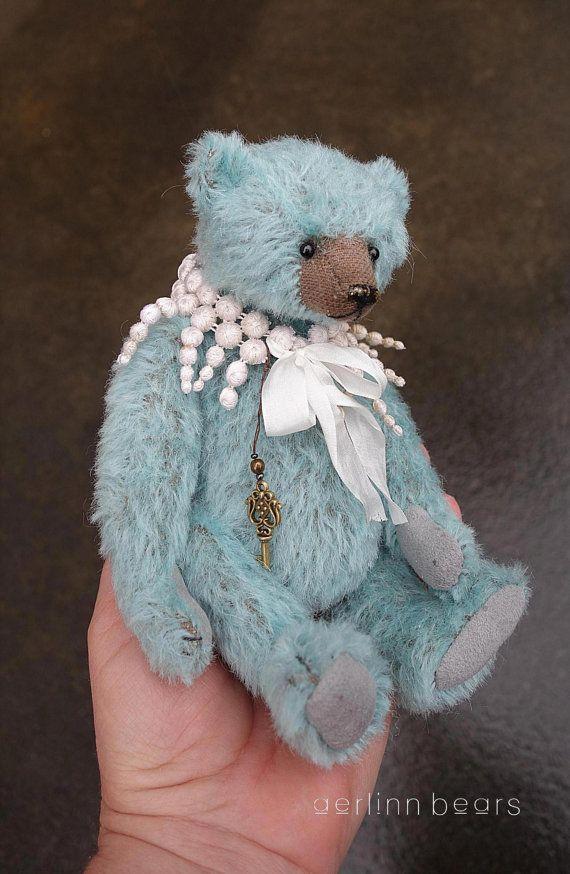 Charming Turquoise Mohair Artist Teddy Bear from by aerlinnbears