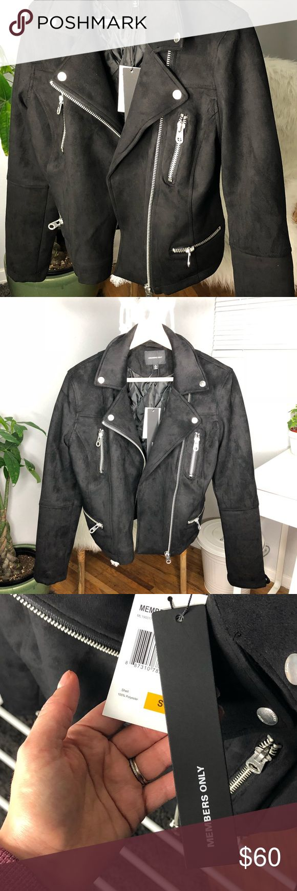 Member's Only Woman's Faux Suede Biker Jacket Adorable biker jacket from the classic brand Member's Only. Stretchy material and very comfortable. Only wore to take pictures, still has tags on Members Only Jackets & Coats