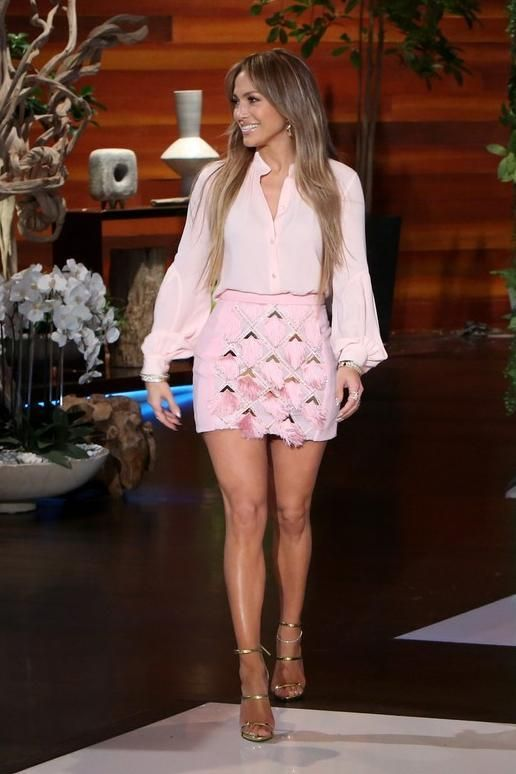 4560d0ae17d6f Jennifer Lopez wearing Giuseppe Zanotti Design Harmony Sandals, Lana  Jewelry Vanity Hoop Earrings, Michael Kors Collection Silk-Georgette Shirt  and Balmain ...
