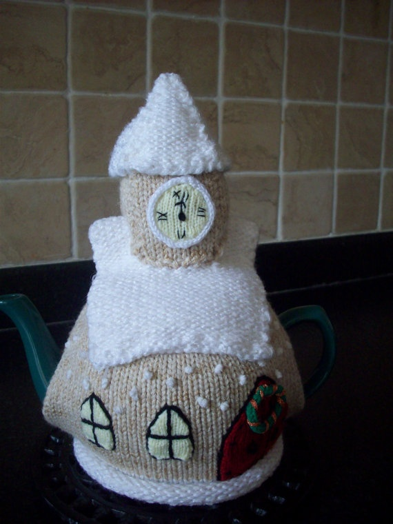 Knitted Tea Cosy Cozy Cosie Christmas Church by rosiecosie on Etsy, £12.99