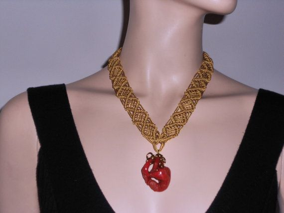 Macramé necklace with gold pendant coral boho by AngelaMacrame, €140.00