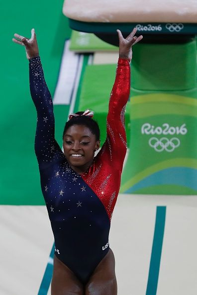 US gymnast Simone Biles competes in the qualifying for the women's Vault event of the Artistic Gymnastics at the Olympic Arena during the…