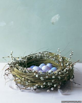 Lovely spring centerpiece: Faux bird nest with pussy willows woven throughout cradling pale blue eggs.