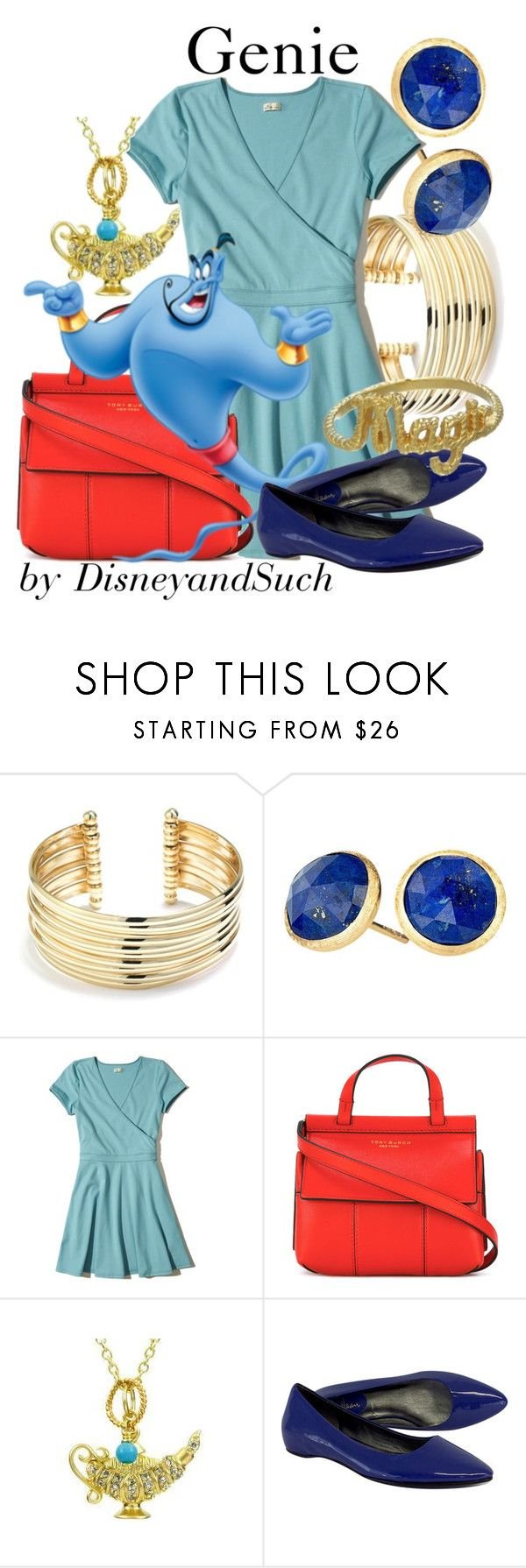 """Genie"" by disneyandsuch ❤ liked on Polyvore featuring Belk Silverworks, Marco Bicego, Hollister Co., Tory Burch, Emitations, Cole Haan, Zoe & Morgan, disney, aladdin and disneybound"