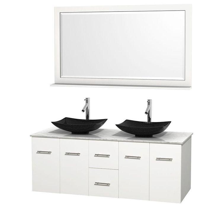 Double Vanity In White With Marble Vanity Top In Carrara