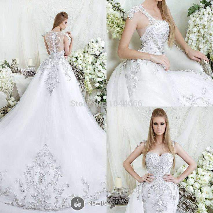 de luxe 2015 dar sara pure arrière tulle perlé robes de mariée robe ...
