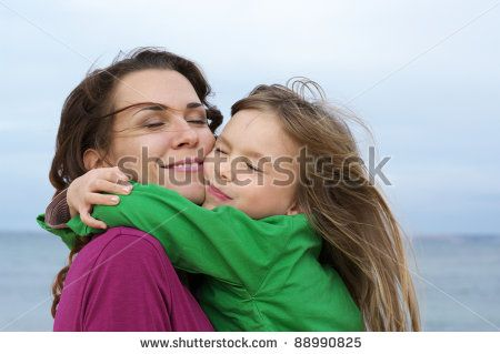 images happy mom and daughter | Happy Mother And Daughter Embracing At Beach. Stock Photo 88990825 ...