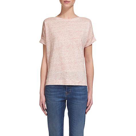 Buy Whistles Boat Neck Linen T-Shirt, Pink Online at johnlewis.com