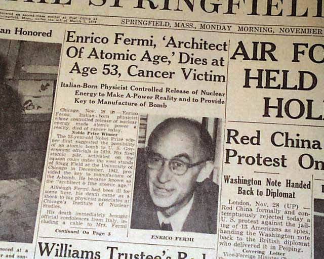 Dinge en Goete (Things and Stuff): This Day in WWII History: Nov 28, 1954: Enrico Fermi, architect of the nuclear age, dies
