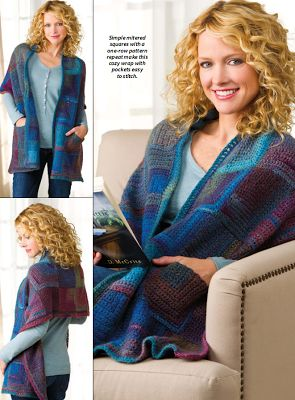 The reader's shawl! Very warm and cosy crochet pattern for a super simple wrap! I love the two pockets! - free pattern