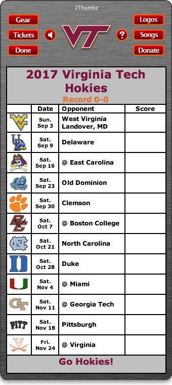 BACK OF WIDGET - 2017 Virginia Tech Hokies Football Schedule Dashboard Widget for Mac OS X - Go Hokies!  Download yours at: http://2thumbzmac.com/teamPagesWidgets/Virginia_Tech_Hokies.htm