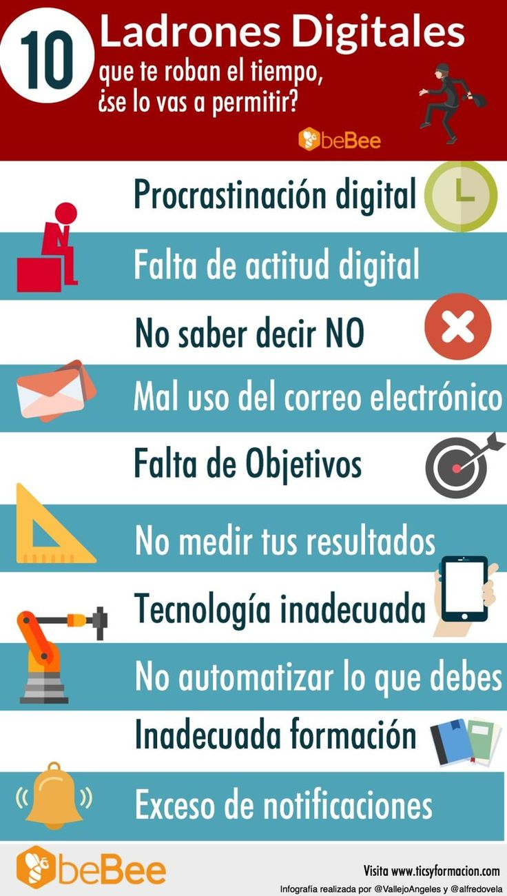 Una infografía con 10 malos hábitos digitales que nos hacen perder el tiempo y por lo tanto nos llevan a ser menos productivos en nuestro trabajo.
