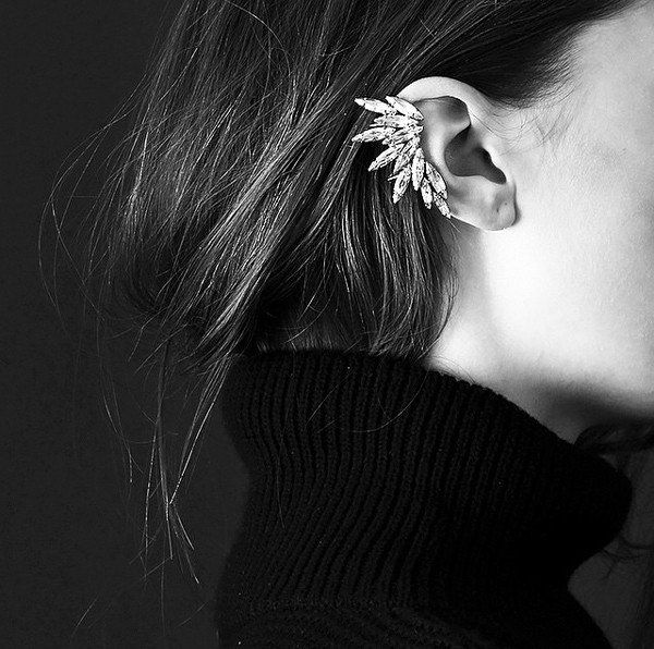 Non pierced Ear Cuff, No Piercing Ear Cuff, Silver Ear Cuff Earring, Silver Earring, Crystal Earcuff, Statement Earing Cuff by SusyDeMarchiJewelry on Etsy