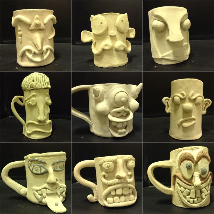 sculptural mugs. Students had to pick an emotion and sculpt that onto their mugs. Slab built.  Western High School