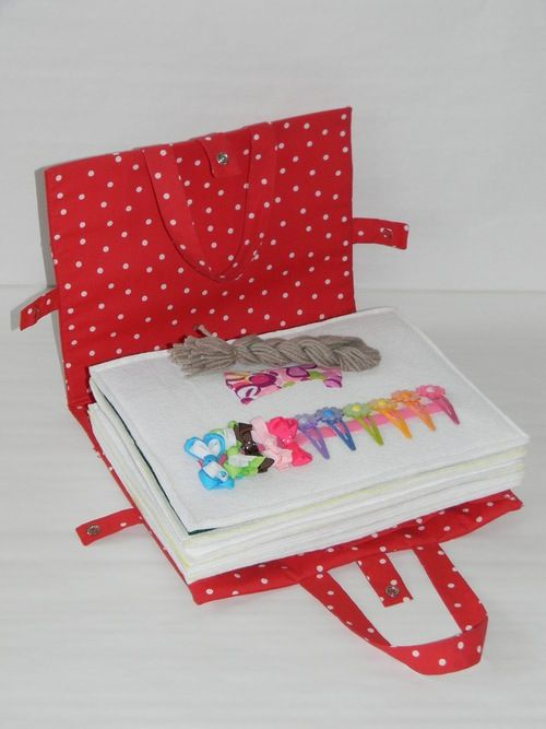 Quiet Book.  Lots of pictures.  Cute ideas I've not seen before. Would be great for church