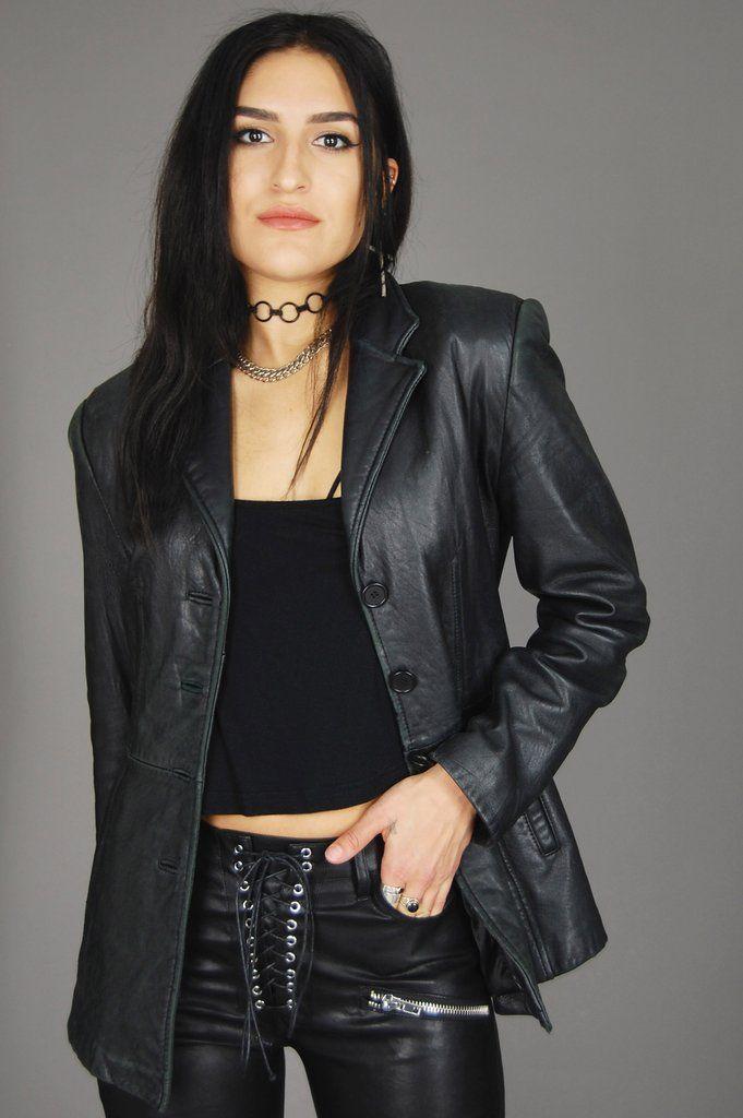 leather blazer women