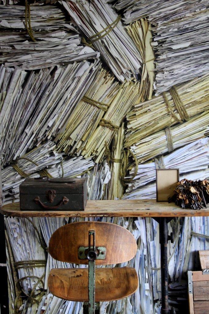 Industrial chair, industrial iron board, vintage keys. Correspondence Mural. Expression Collection. Styling: Scandinavian Wallpaper & Décor. Photography: Gemma Lovitt.
