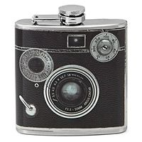 "Camera Flask . $25.00. This double gauged, stainless steel ""camera"" holds 6"