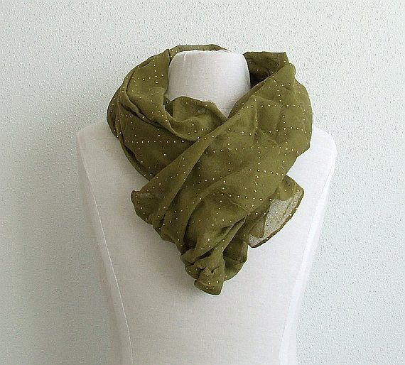 Cotton Scarf Earthy Lichen Moss Color Cotton Scarf by AJatelier