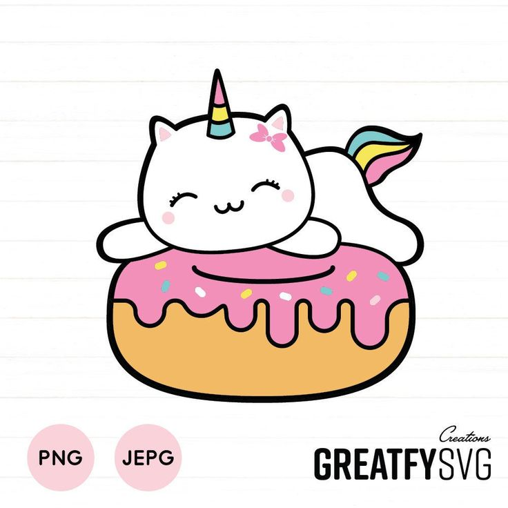 SVG Caticorn SVG. Unicorn SVG. Cat Clipart. Donut Svg ...