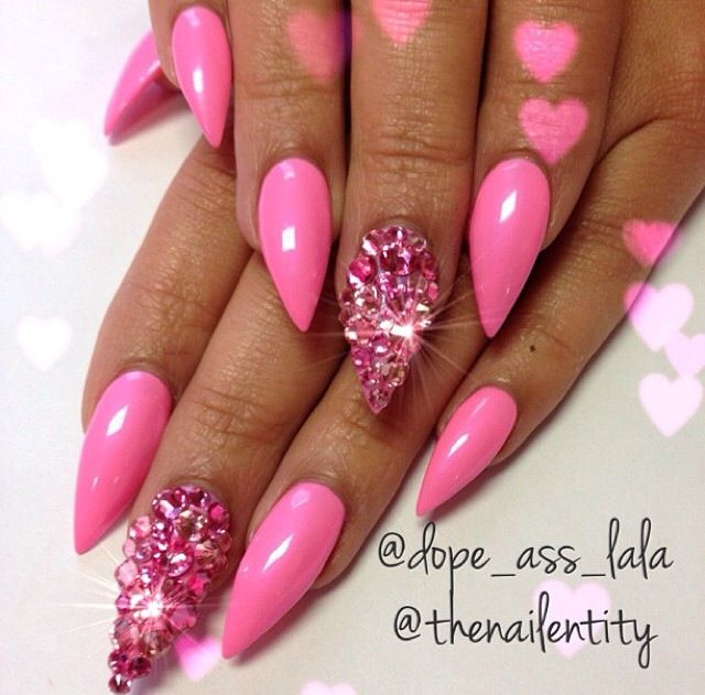 Pink Stiletto Nails October 2017