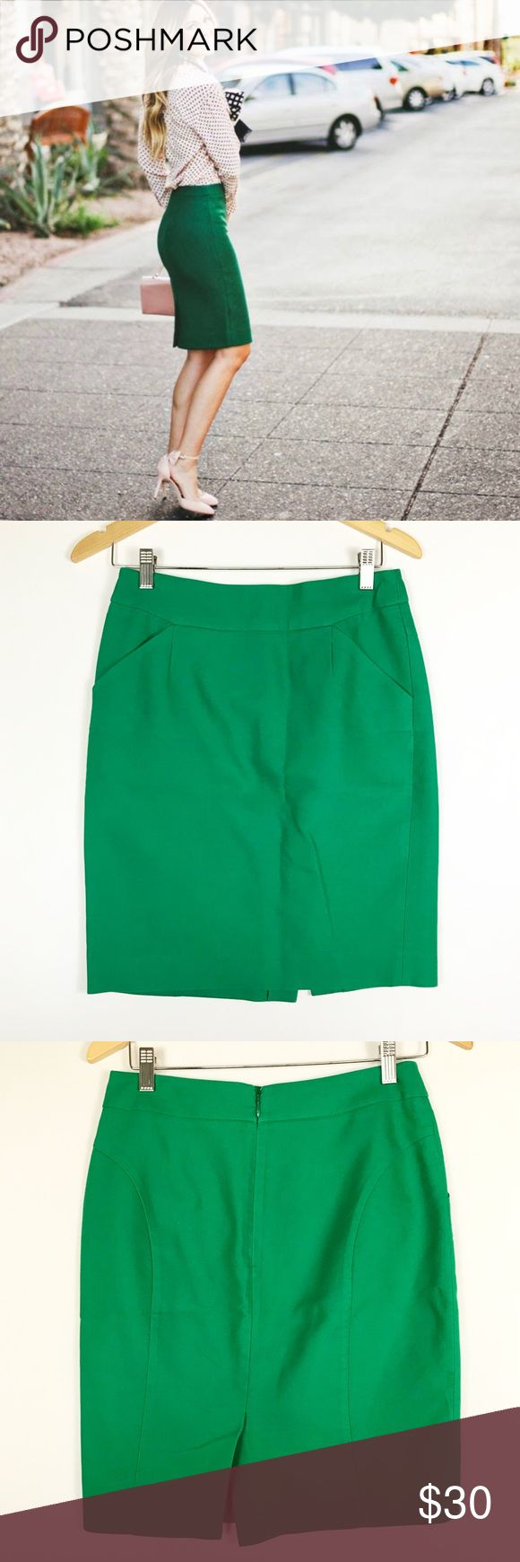 "J crew 2 green Pencil skirt in double-serge cotton Perfect pencil skirt Side pockets  Back vent Measures approx laying flat : 14.5"" waist 18""hip 21"" long J. Crew Skirts Pencil"