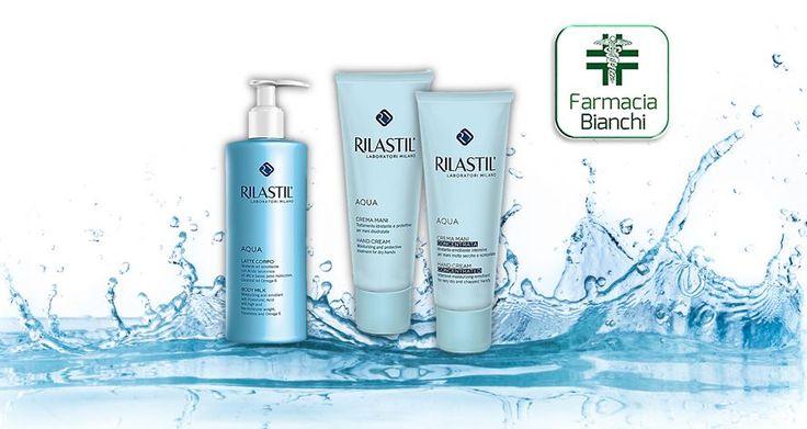 #RILASTIL AQUA è la linea completa dedicata all'idratazione cutanea, essenziale per mantenere la pelle fresca, tonica e prevenire l'insorgenza delle rughe. Farmacia Dott.ssa Alessandra Bianchi