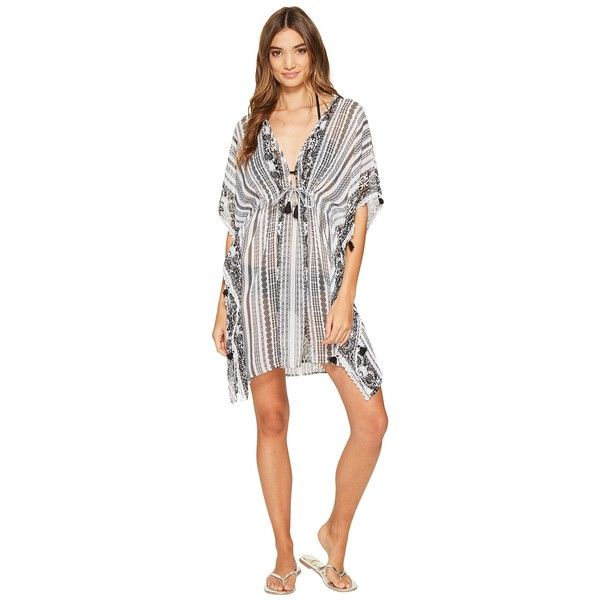 Bleu Rod Beattie Smock It To Ya Caftan Cover-Up (Black) Women's... ($60) ❤ liked on Polyvore featuring swimwear, cover-ups, kaftan beach cover up, lace cover up, swim cover up, beach kaftan cover ups and beach cover ups